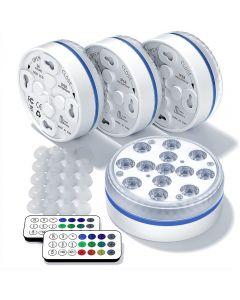16 couleurs sous-marine lumières d'étang lumières de piscine avec télécommande, paquet de 4 lumières de douche magnétiques étanches pour étang fontaine Vase Garden Party