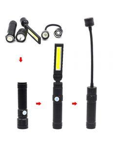 Lampe de poche LED à lumière forte T6 avec torche rechargeable portable magnétique pliante puissante