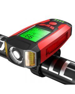 Vélo Lumière Ordinateur de vélo 3 Mode Klaxon Compteur de vitesse USB Charge LED Lumière