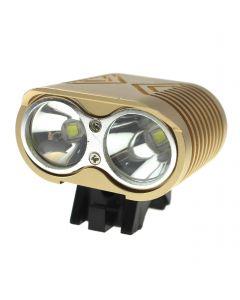 Lumières De Vélo Led 2 * Cree Xm-L2 4 Modes Max 2000 Lumens Led Lumière De Vélo Avec 4 * 18650 Pack Pack-Khaki Couleur