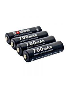 Soshine 14500 / Aa 3.2V 700Mah Batterie De Lifepo4 Rechargeable Protégée Protégée Avec Boîtier De Batterie (4 Unité)