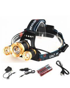 Led Zoom Phare Cree T6 + 2R5 Camping En Plein Air Chasse De Pêche À Haute Puissance Headlamp Rechargeable (1 / Set)