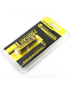 Nitecore Nl1475R 750Mah 14500 Batterie Li-Ion Rechargeable À Haute Performance Haute Performance De La Micro-Usb