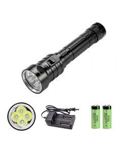 4 x lampe de poche de plongée LED XM-L L2 26650 IPX8 lumière sous-marine étanche 3 modes lampe de poche de pêche