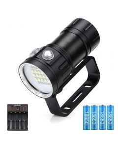 20000 lumens 6x XHP90 sous-marin 100m lampe de poche de plongée LED étanche avec chargeur 18650