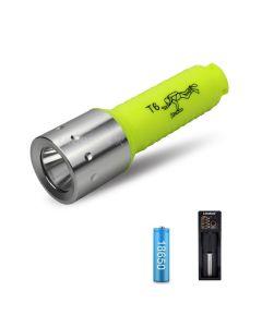 Lampe de poche 2000LM T6 LEDDiving pour lampe de poche sous-marine de plongeur alimentée par une batterie 18650