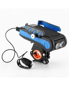 4000mAh LED Bike Lights Bicycle Light Front Avec Klaxon Support De Téléphone USB Lampe De Poche Rechargeable