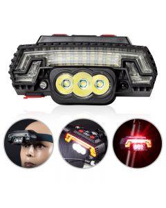 T6 LED phare de vélo USB capteur de charge phare VTT avertissement feu arrière 8 modes